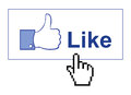 Facebook like thumb up illustration with hand mouse pointer Royalty Free Stock Photo