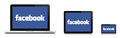 Facebook network concept facebook logo laptop tablet smartphone editorial use isolated white reflection bottom Stock Photo