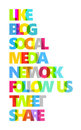 Facebook Social Media Color Words Royalty Free Stock Image