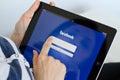 Facebook social network login screen on digital tablet Royalty Free Stock Photos