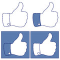 Facebook Thumb Up Like Button Icons Set Royalty Free Stock Photo