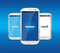 Facebook twitter and linkedin johor malaysia jan icon on smartphone screen there are famous website in the world jan in johor Royalty Free Stock Photos