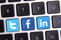 Facebook twitter and linkedin keyboard johor malaysia sep icon on there are famous website in the world sep in johor malaysia Stock Images