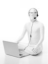 Faceles man customer support faceless dressed in white sitting on the floor with a laptop headphone microphone head and eyeglasses Royalty Free Stock Images