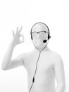 Faceles man customer support ok portrait of unknown with headphones and microphone glasses hand gesture service Royalty Free Stock Images