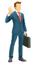 Faceless businessman ok anonymous show a okay hand sign vector illustration Stock Images