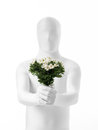 Faceless man with flowers dressed white a bouquet of in hand Stock Images