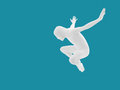 Faceless man jumping isolated unknown on blue background Stock Photography