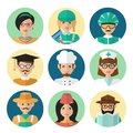 Faces avatar icons profession occupation job set flat isolated vector illustration Stock Photo