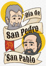 Faces behind Ribbon for Saints Peter and Paul`s Day, Vector Illustration
