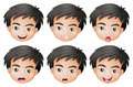 Faces of a boy illustration on white background Royalty Free Stock Photo