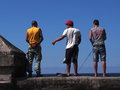 Faces Of Cuba-Fishermen Along The Malacon Royalty Free Stock Photo