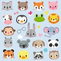 Faces Cute Cartoon Animals on a white background