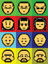 Faces do pixel Imagem de Stock Royalty Free