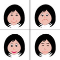 Faces and emotions four cartoon with different on white Royalty Free Stock Image