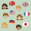 Faces and flag stickers Royalty Free Stock Photo