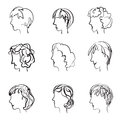Faces profile with different expressions in retro sketch style.
