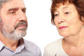 Faces of senior couple, isolated Stock Photos