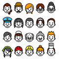 Faces set occupational category file Royalty Free Stock Photos