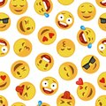 Faces smile pattern. Funny cute smiley expression emotion chat messenger cartoon vector seamless wallpaper