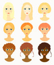 Faces of women, girls hairstyles race. vector illustration Royalty Free Stock Photo