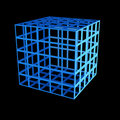 Faceted blue 3d cube Stock Image