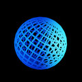 Faceted blue 3d sphere Stock Images