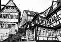 Fachwerk architecture style black and white shot of houses made in or half timber Royalty Free Stock Photo
