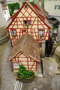 Fachwerk house in the european town timberframe is photographed from above with unusual perspective it is repaired recently Royalty Free Stock Photos