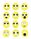 Facial expressions yellow emoticons with various Stock Photos