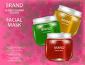 Facial Mask for Skin on the sparkling Background, Concept Skin Care Cosmetic. Mock-up of mask jar.