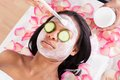 Facial mask of woman close up applying in spa Royalty Free Stock Photography