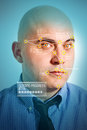 Facial recognition face detection software recognizing a face of young adult bald businessman Royalty Free Stock Photo