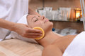 Facial sponges treatment with st the spa Royalty Free Stock Images