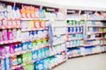 Facing view of cleaning shelf with products Royalty Free Stock Photo