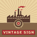 Factories group vintage vector logo sign creative retro illustration for business works Stock Images