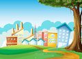 Factories and high buildings across the hills illustration of Royalty Free Stock Photos
