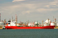 Factory big refinery and carrier ship Royalty Free Stock Photo