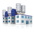 Factory building for the production of concrete with reflection Royalty Free Stock Photo