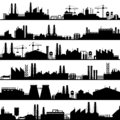 Factory construction silhouette. Industrial factories, refinery panorama and manufacture buildings skyline vector