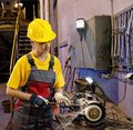 Factory female worker Royalty Free Stock Image