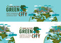 Factory in the green city banner concept