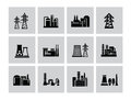 Factory icon vector black building set on white Stock Images