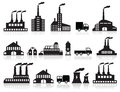 Factory icons black white vector illustration of symbols Royalty Free Stock Image