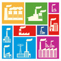 Factory icons over colorful background vector illustration Royalty Free Stock Photography