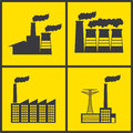 Factory icons over yellow background illustration Stock Photos