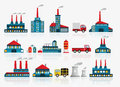 Factory icons vector illustration of colorful Royalty Free Stock Photography