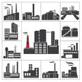 Factory and industry icons vector set Stock Image