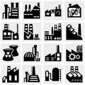 Factory power plants industrial buildings and po п анц icons set on grey background eps file available Stock Photos