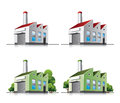 Factory vector icons in cartoon style. Royalty Free Stock Photo